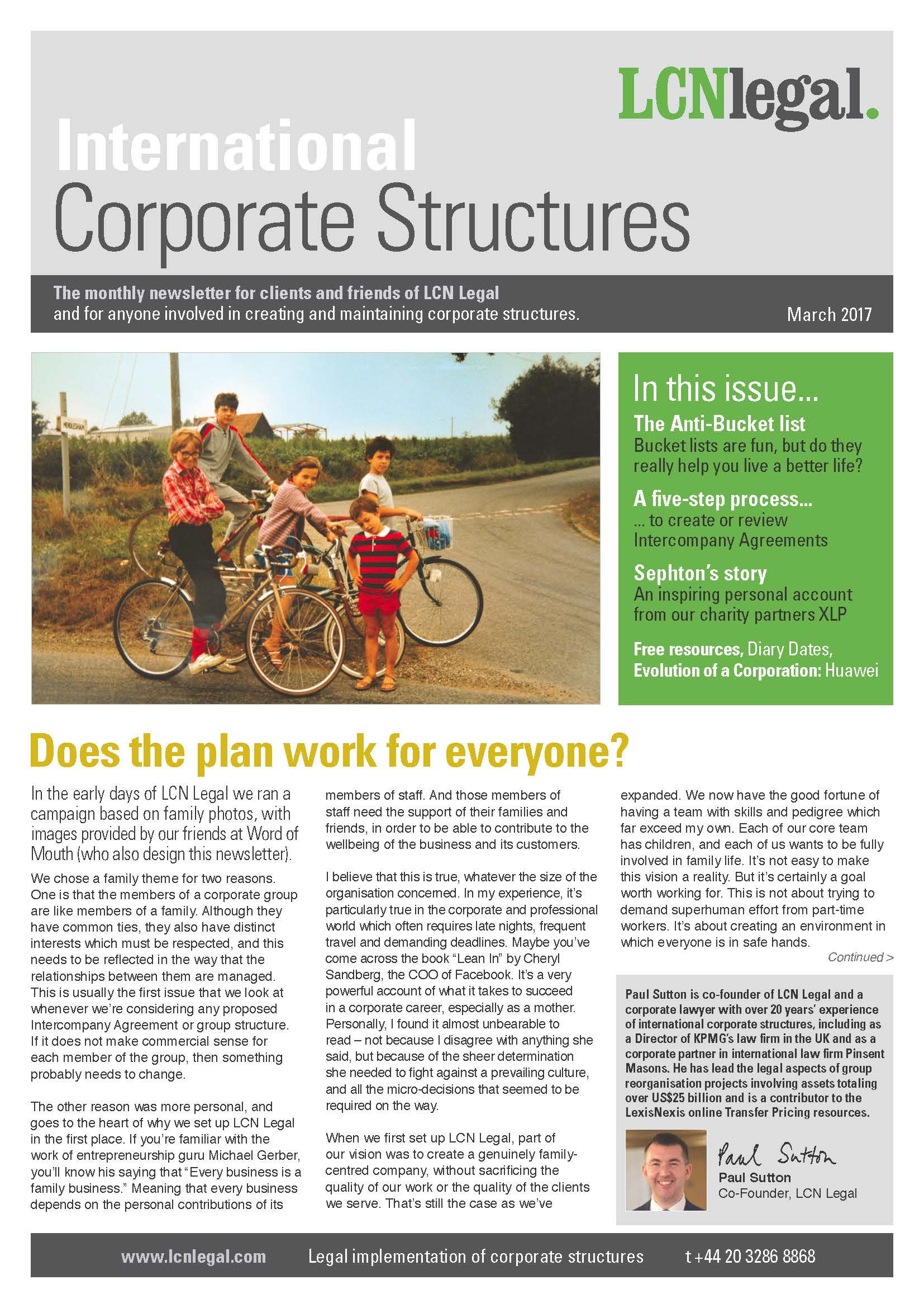 International Corporate Structures Newsletter - March 2017