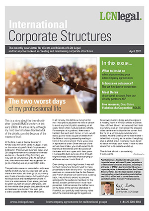 International Corporate Structures Newsletter - April 2017