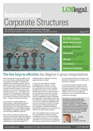 International Corporate Structures Newsletter - August 2017