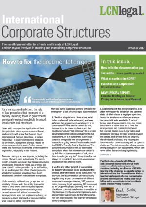 Corporate Structures Newsletter - October 2017