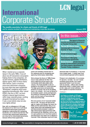 International Corporate Structures Newsletter - January 2018