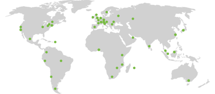A map showing LCN Legal's international reach