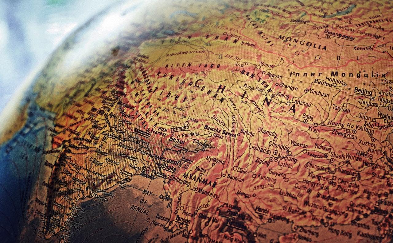 Map of China on Globe